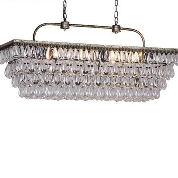 Vintage Rectangular Chandelier/ Glass Drops Chandelier Light For Home /Hotel