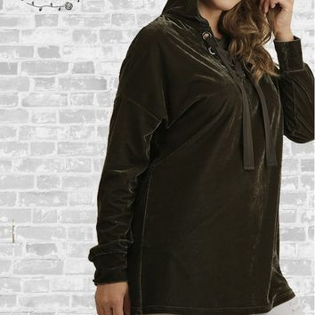 Lace-Up Velvet Hoodie Tunic - Olive - XL or 1X only