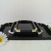 Vintage 4 Piece Black Lacquer Art Deco Cocktail Trays Set - Made in Japan - Hollywood Regency Ebony Plastic / Gold Tone Accents Nesting Set