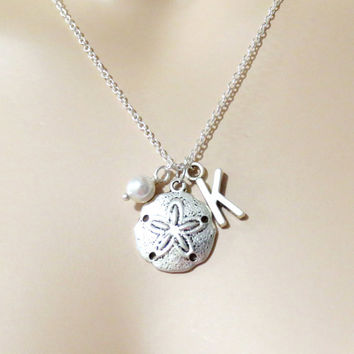 Sand, Dollar, Necklace, Sanddollar, Jewelry, Personalized, Gift, Initial, Necklace, Mermaid, Jewelry, Bridal, Bridesmaid, Nautical