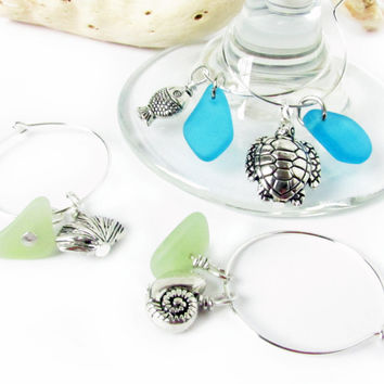 Set of Beach Wine Glass Charms