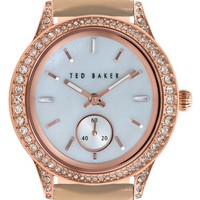 Women's Ted Baker London Crystal Bezel Leather Strap Watch, 34mm