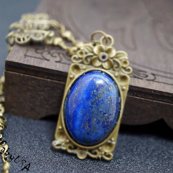 Lapis Lazuli Necklace - Lapis Lazuli Jewelry - Gift For Mom - Third Eye Chakra Healing - Large Lapis Penant