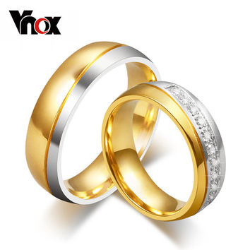 Vnox Classic Wedding Bands Ring for Women / Men Gold-color Love Promise Jewelry Anillos