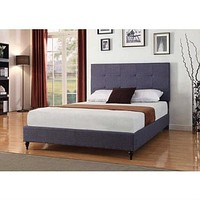 Twin size Charcoal Dark Blue Linen Platform Bed with Upholstered Headboard
