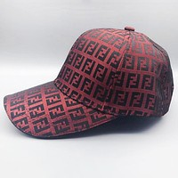 Fendi New fashion more letter canvas couple cap hat Red