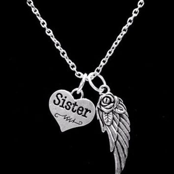 Guardian Angel Wing Sister In Heaven Memory Necklace