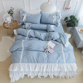 Blue Princess Ruffles Bedding Set 100%cotton Twin Full Queen King size Girls Bedding sets Duvet Cover Bed skirt set Pillowcase