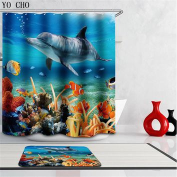Boutique High Quality Modern Waterproof shower 3D Underwater world Shower Curtain Bathroom Curtain fish curtains for bath room