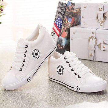 Summer Sneakers Wedges Canvas Shoes Women Casual Shoes Female Cute