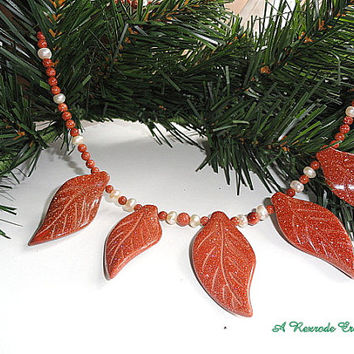 Goldstone Leaf Necklace Set with Pearls / Goldstone Jewelry Set / Necklace and Earring Set / Fall Jewelry Set