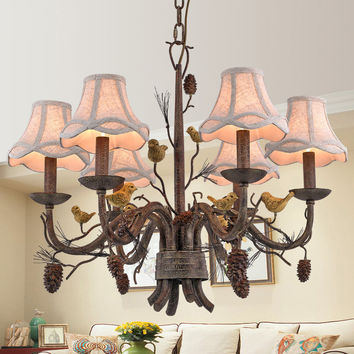 Wrought Iron Chandelier Island Country Vintage Style Chandeliers Flush Mount Painting Lighting Fixture Lamp Empress Chandeliers