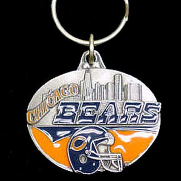 Chicago Bears Oval Carved Metal Key Chain SFK006