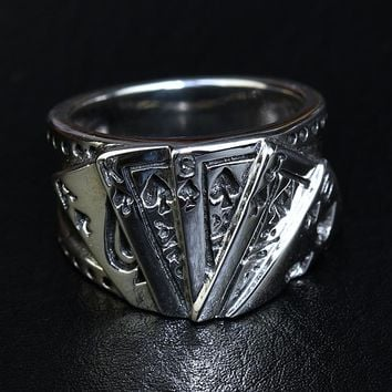 Thailand imports, flush poker, antique 925 sterling silver, men punk, Thai silver ring ornaments