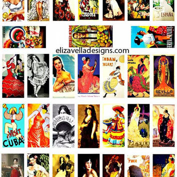 spanish mexican ladys flamenco dancers domino collage sheet digital download graphics 1 x 2 inch images craft printable