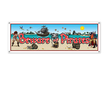 """Beistle Party Decoration Beware Of Pirates Sign Banner 5' x 21""""""""- Pack of 12"""