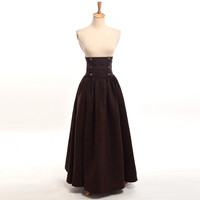 Vintage Steampunk Skirt Victorian Gothic High Waist Maxi Long Walking Slim Skirts Black/Blue/Brown/Purple Women Costume
