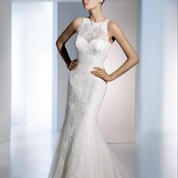 Mermaid Scoop Chapel Train Lace Wedding Dress WTM02838