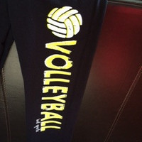 Neon Yellow and White Volleyball Sweatpants