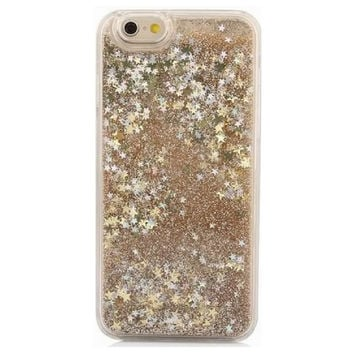 Liquid Gold Glitter Stars Quicksand Case For iPhone
