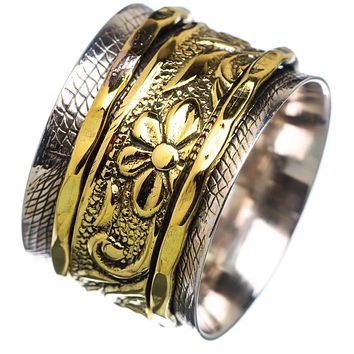 Spinner Ring - Two Tone Fancy Wide Band