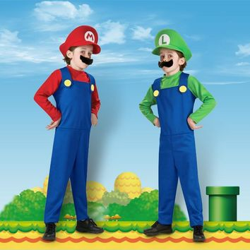 Super Mario party nes switch Children Funny Cosplay Costume  Luigi Brothers Plumber Fancy Dress Up Party Costume Cute Kids Costume   AT_80_8