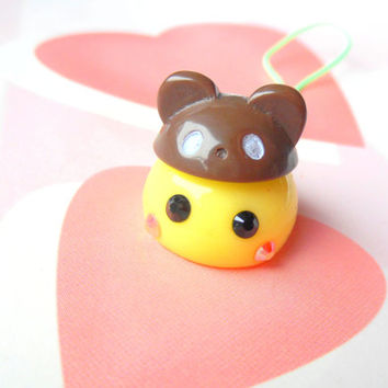 Bear Hat Cosplay Yellow Hoppe Chan, Tamagotchi Charm, Kawaii Phone Charm, Cute Dust Plug, Nintendo 3DS, PS Vita, Anime Lovers, Kawaii Animal
