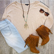 Lexia Oversized Top - Taupe