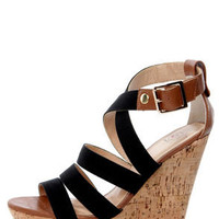 My Delicious Clean Black and Tan Cotton Strappy Wedge Sandals