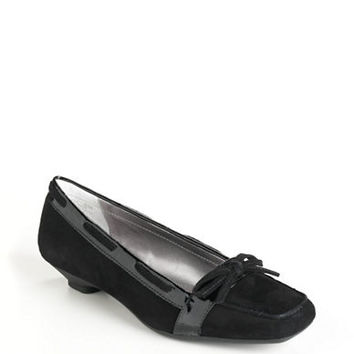 Anne Klein Justain Suede Loafer Kitten Heels
