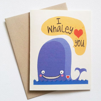 I love you card with blue whale - cute valentines day love you card with whale - romantic anniversary card  for him her boyfriend girlfriend