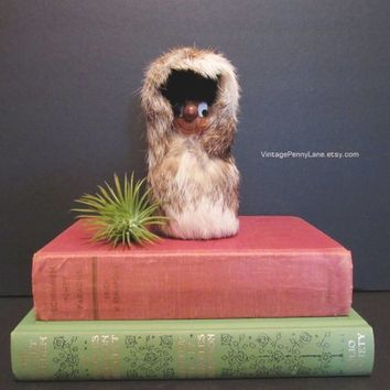 Vintage Quebec Folk Art Sculpture by Raymond Bourbeau, Rabbit Fur and Wood