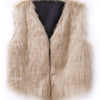 Camel Collarless Cropped Faux Fur Waistcoat