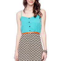 Zig Zag Belted Combo Dress in Aqua :: tobi