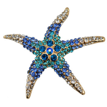 2016 summer 3 Kind Colors Optional Adorable Blue  Crystal Rhinestone Starfish Brooches for women wedding