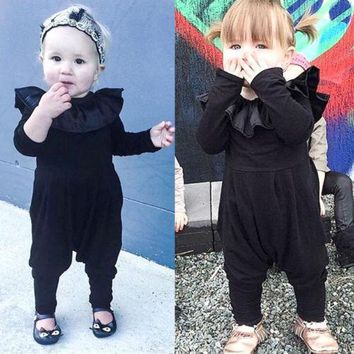 Cute Infant Baby Girl Ruffle Long Sleeve Romper Harem Pants Clothes Outfits 0-2T