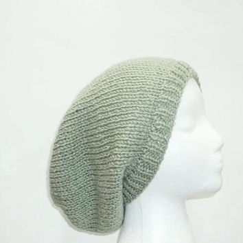 Sage green slouch hat, handmade oversized beanie   5020