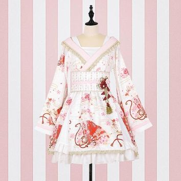 Japanese lolita dress 2017 fashion brand peter pan Collar embroidery dress female was thin bow cross lace kamono dress wj1509