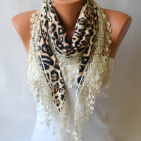 Leopard scarf - cotton jersey leaopard scarf  winter scarf cotton scarf  cozy scarf christmas gifts birthday gifts