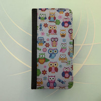 Colorful owls iPhone 6 leather wallet Samsung Galaxy Note wallet case flip case