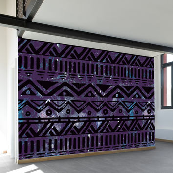 Hand Drawn Black Aztec Wall Mural
