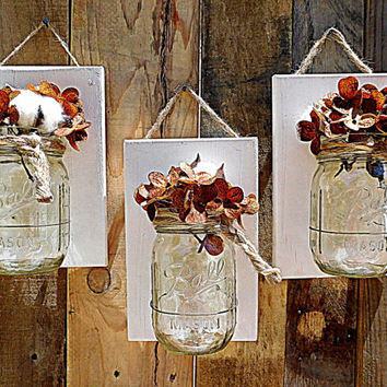 Mason Jar Wall Decor , Wood , Country Decor , Rustic Decor , Boho Chic, Wall Sconce , Wall Hanging , Bathroom storage