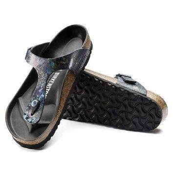 VON3TL Sale Birkenstock Gizeh Lux Leather Spotted Metallic Black 1005678/1005679 Sandals