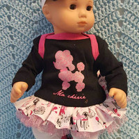 "Baby Doll Clothes ""Ma Cherie"" 15 inch doll outfit Will fit Bitty Baby® Bitty Twins® dress, leggings, socks, headband poodles Paris"