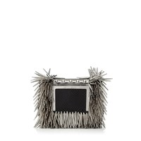 Black Mix Glossy Snakeskin with Rock Metal Fringes Clutch Bag with Chain Strap   Ava   Spring Summer 15   JIMMY CHOO Spring Summer 15