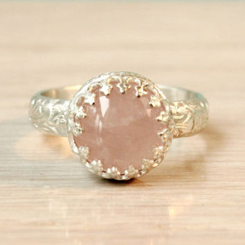 Rose quartz ring sterling silver pink 10 mm gemstone on a thick floral band in a crown gallery setting, handmade princess ring, light pink