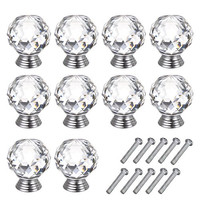 OTTFF 40mm Crystal Cabinet Knob Clear Dresser Knobs Handle for Furniture Kitchen Cupboard Drawer Dresser Pull,Sets of 10