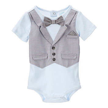 Edgehill Collection Newborn-6 Months Gingham Vest & Bow Tie Bodysuit | Dillards