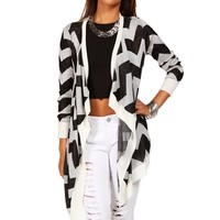 Ivory/Black Chevron Printed Cardigan