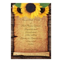Sunflowers, parchment scroll & wood fall wedding custom invite from Zazzle.com